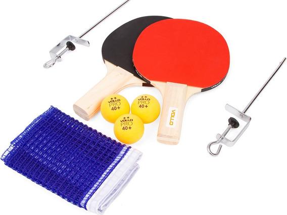 Kit Ping Pong Tênis De Mesa 2 Raquetes Rede 3 Bolinhas Vollo