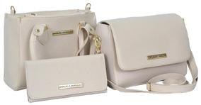 Bolsa Feminina Kit 3 Bolsas Grande Pequena Bau +carteira