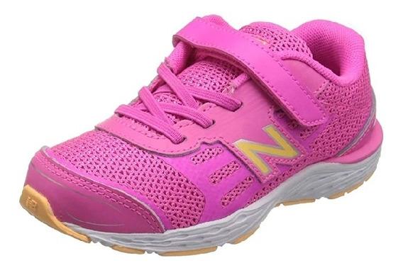 Tenis New Balance 680v5 Velcro Rosa Naranja 23.5mx Ancho