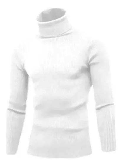 Cacharrel Blusa Tricot Lã Sintética Masculina Gola Alta