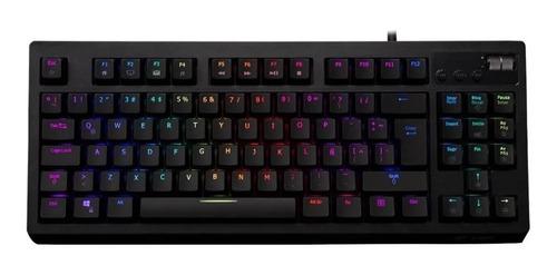 Imagen 1 de 2 de Teclado gamer VSG Quasar RGB QWERTY Outemu Brown - Tactile español latinoamérica color negro con luz RGB