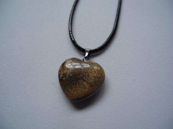 Colar Coração Pedra Natural Marrom Gargantilha Cordão Preto