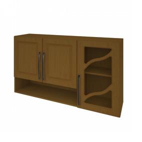 Armário De Cozinha 3 Portas Vidro Vazado 120cm Nora Ifwt