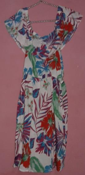 Vestido De Fibrana Estampado C/flores Talle S