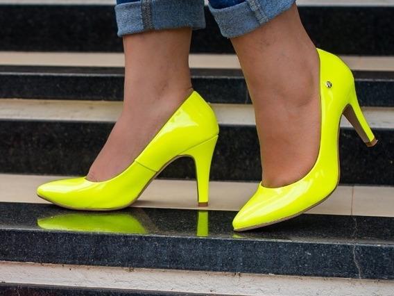 Sapato Scarpin Alto Feminino Neon Lima Neon Verniz