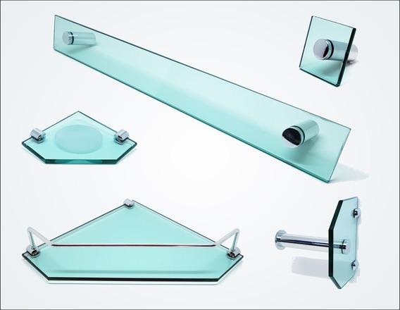 Kit De Acessórios P/ Banheiro 5 Pçs Em Vidro Verde C605