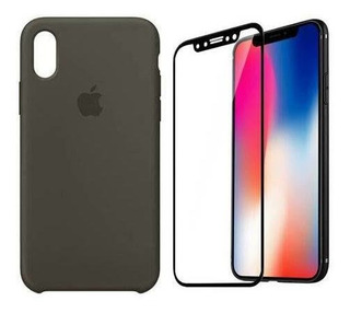 Case Silicone + Película 3d Para iPhone Xs Max Original