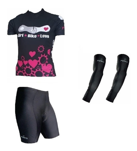 Conjunto Penks Bike Love Camisa + Bermuda Preta+manguito