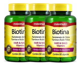 Biotina Firmeza E Crescimento Maxinutri 3x60 Cápsulas