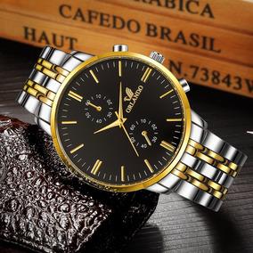Relógio Masculino Luxo Dourado Pulseira Inox Brinde Estojo
