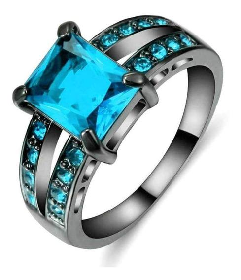 Anel Masculino Feminino Pedra Cristal Água Marinha Azul 922
