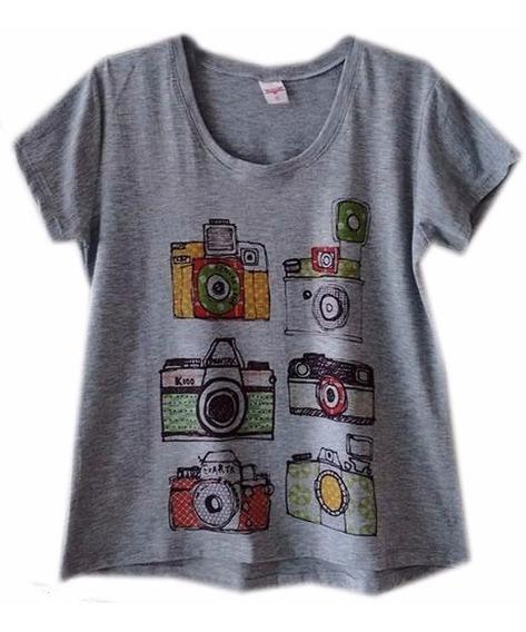 T Shirt Femininas Camiseta Câmeras Fotografia Frete Grátis