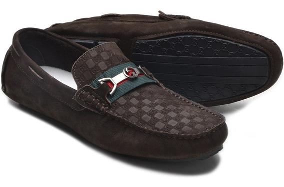 Mocassim Sapato Drive Tênis Gucci Masculino Casual Couro