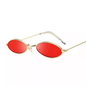 de317a176 Oculos Trend Fino De Sol Pequeno Lente Vermelha Estiloso Cat