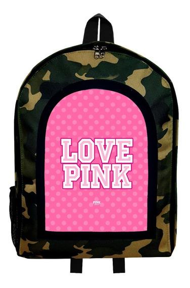 Mochila Reforzada Camuflada Mujer Love Pink Givan