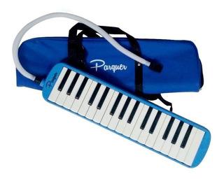 Melodica A Piano Parquer 32 Notas Azul Con Funda Manguera