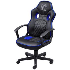 Cadeira Presidente Gamer Escritório Master Preto Com Azul