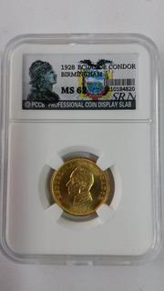 Moneda Certificada Srn Ms 62 ! Un Condor 1928 Birm - Ecuador
