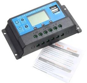 Controlador De Carga Solar 10a Lcd Usb 12-24v Pwm Automatico