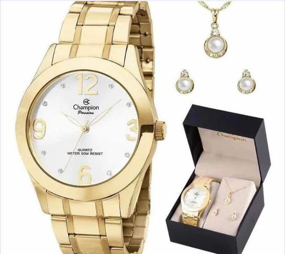 Relógio Champion Feminino Com Kit Semi Jóias Brinde