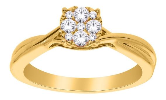 Anillo Para Dama De Oro De 14 K Con 9 Diamantes Ghiberti
