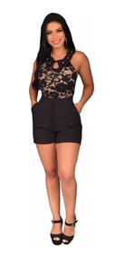 Conjunto Body E Shorts Renda Bordado Cintura Alta Feminina