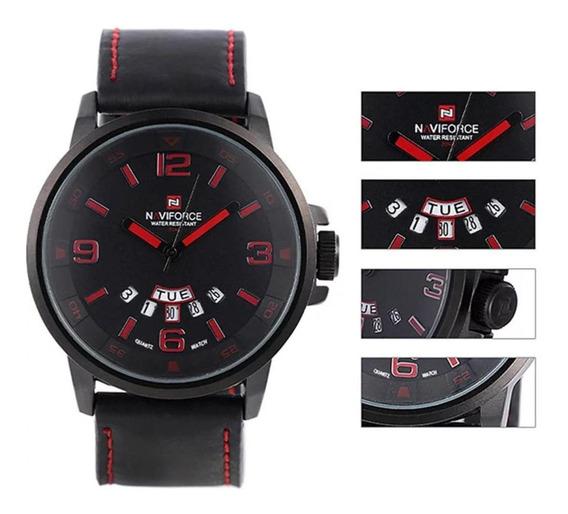 Relógio Naviforce 9028 Pulseira De Couro Original E Frete