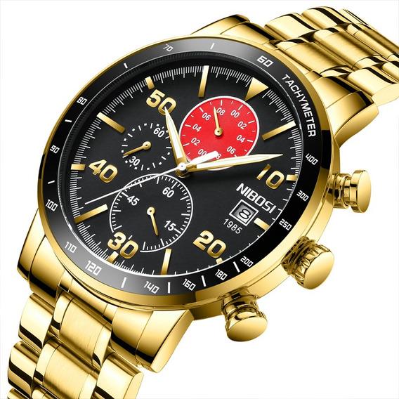 Reloj Pulsera Nibosi Moderno Impermeable Dorado Para Hombre