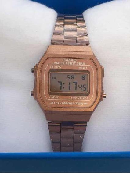 Reloj Casio Mini Rosa Mate A168 Rose Gold Dama Mayoreo