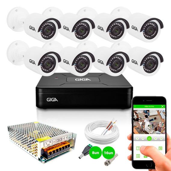 Kit Cftv 8 Câmeras Segurança Hd 720p Gs0018 Dvr Giga Tf