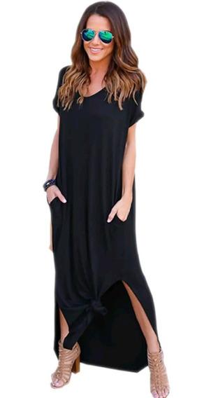 Vestido Largo Con Bolsillos Primavera/verano Manga Corta