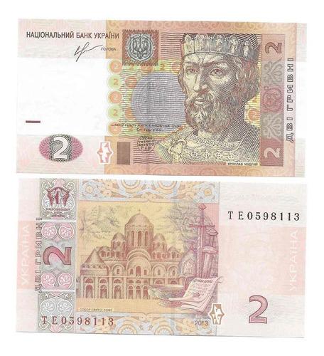 Imagen 1 de 1 de Billete Ucrania 2 Hryven (2013) Yaroslav El Sabio   Catedral