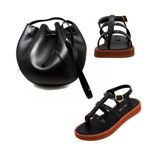 Sandália Rasteirinha Caribe Gladiadora + Bolsa Bag Brinde