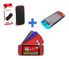 Kit Nintendo Switch - Hard Case + Silicone + Película Vidro