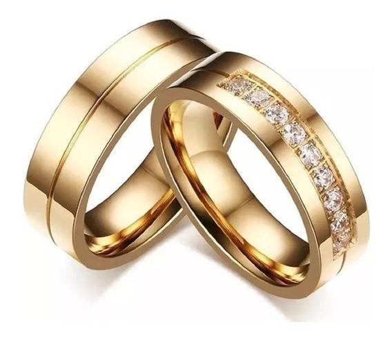 Par De Alianças Noivado Casamento Banhada Ouro 18k 6mm