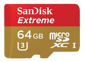 Cartão Micro Sd 64gb Sandisk Extreme 90mb/s Classe 10 4k Ult