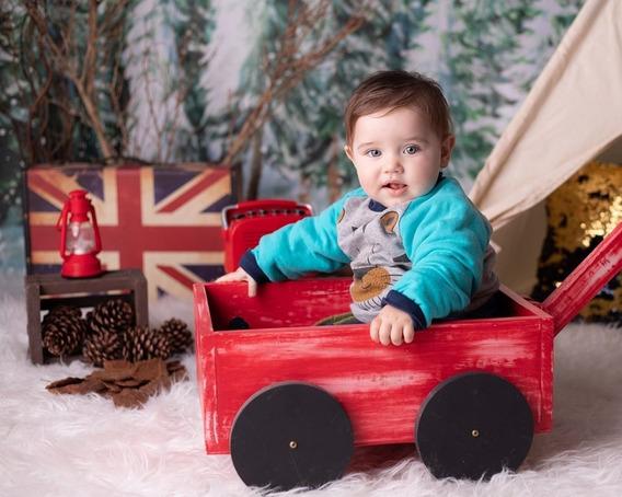Carrinho Vermelho Pátina Prop Newborn Acompanhamento Bebê
