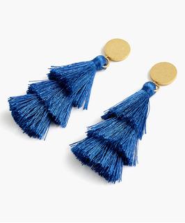 Navy Tiered Tassel Drop Earrings