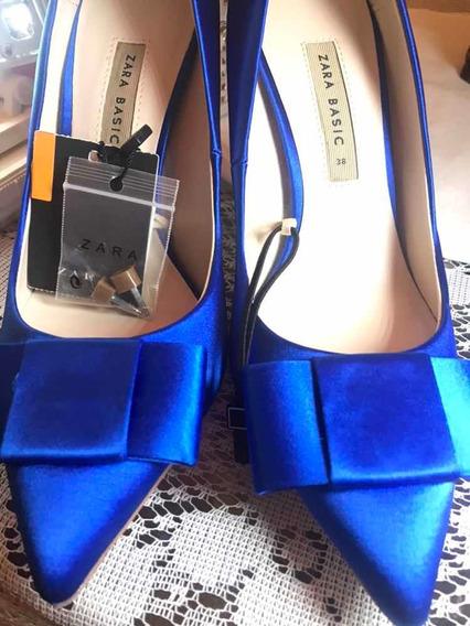 Novo Com Etiqueta Zara Cetim Azul Royal: Super Luxo Tam 36