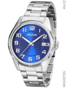 Relógio Magnum Masculino Prata Fundo Azul Ma34272a