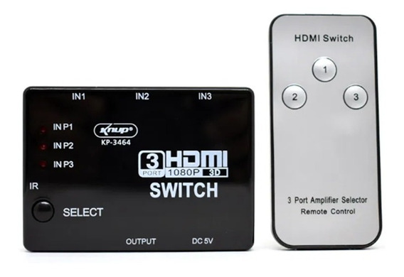 Switch Divisor Hd Hub Hdmi 1.4 Splitter Divisor 3x1 Controle