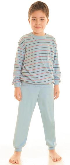 Pijama Invierno Niño Doble Interlok Rayado Bien Abrigado