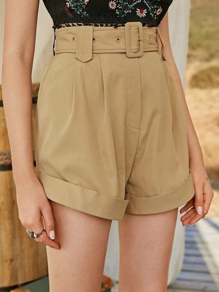 Short Con Cinturón Fruncido Bajo Enrollado Nude Camel Cinto
