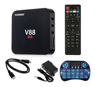 V88 Android Tv Box Iptv 1080p Wifi Smart Hdmi Box +teclado