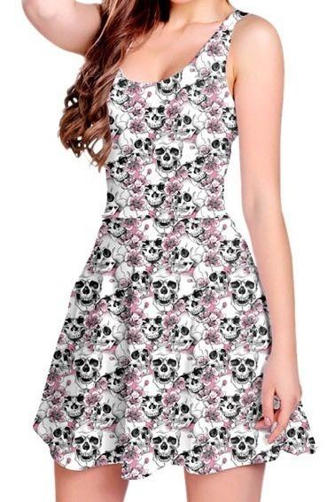 Vestido Boneca Curto Printfull Estampado Caveirinha Skull