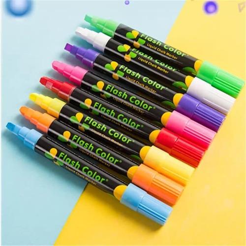 Plumones Tiza Liquida Fluorescentes Estuche 8 Und.