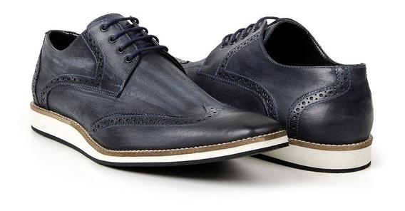 Sapato Masculino Oxford Casual Estonado Em Couro Bigioni