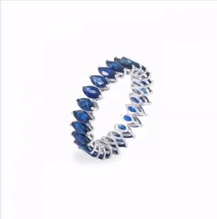 Aliança De Pedras Navetes Safira Blue Florenzza Em Prata 950