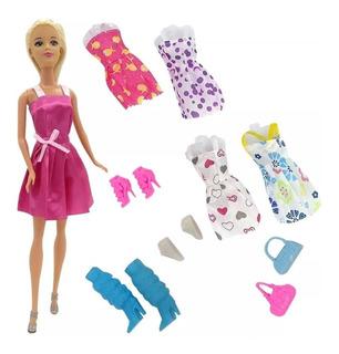 Muñeca Kiara Articulada Fashion Vestidos Accesorios B083 Ful