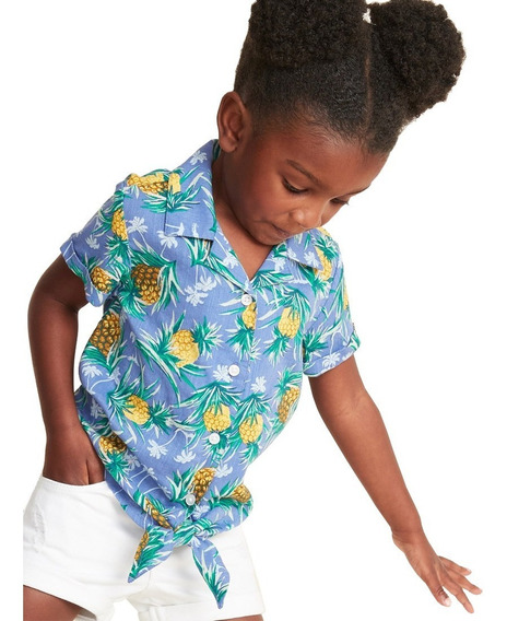 Camisa Niña Bebé Blusa Manga Corta Estampado Piñas Old Navy